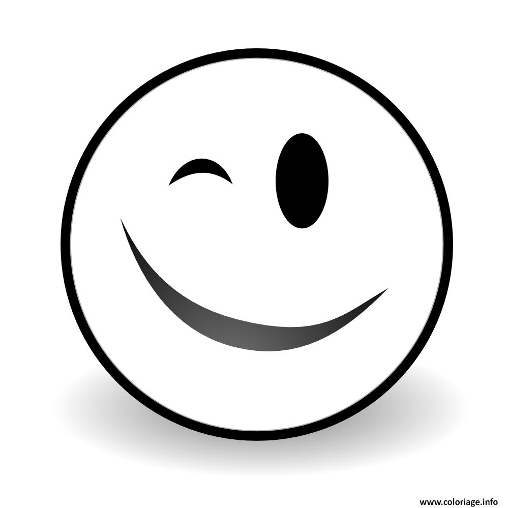 Coloriage Winky Face Emoji Dessin  Imprimer