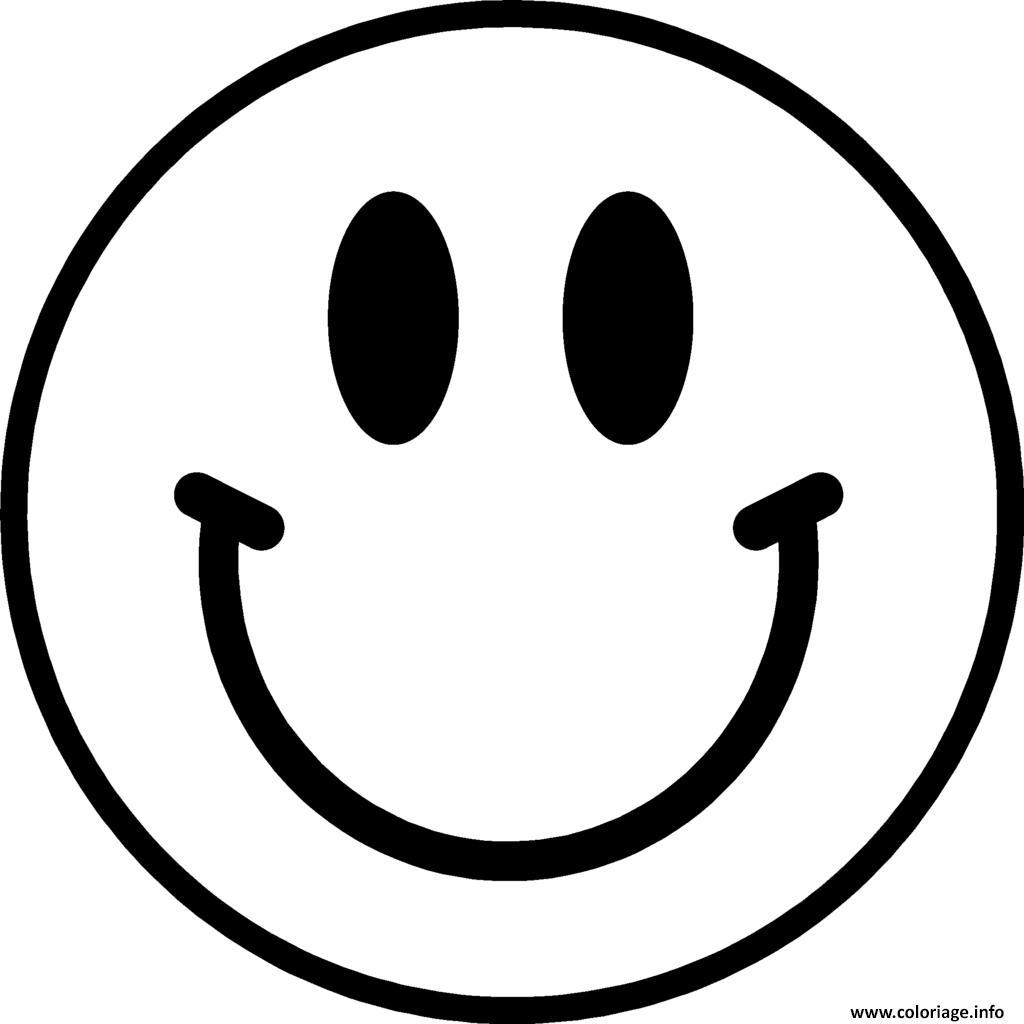 Coloriage Smiley Emoticone Original Dessin
