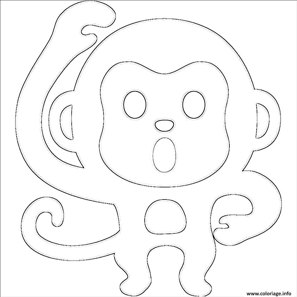 coloriage emoji singe dessin
