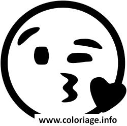Coloriage emoji coeur bisou bizou dessin - Dessiner un bisou ...