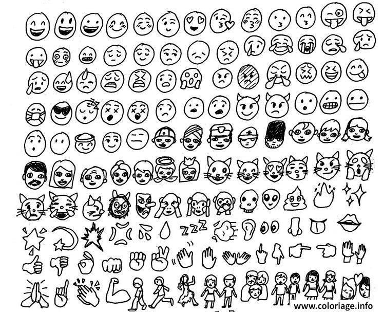 Coloriage Emoji Emoticon List Dessin