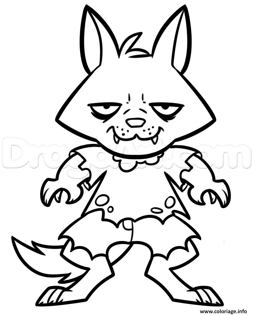 Dessin halloween loup Coloriage Gratuit à Imprimer
