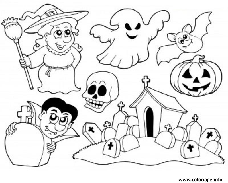 Exceptionnel Coloriage Halloween Enfants Facile dessin GM08