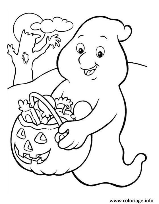 Coloriage halloween fantome - JeColorie.com