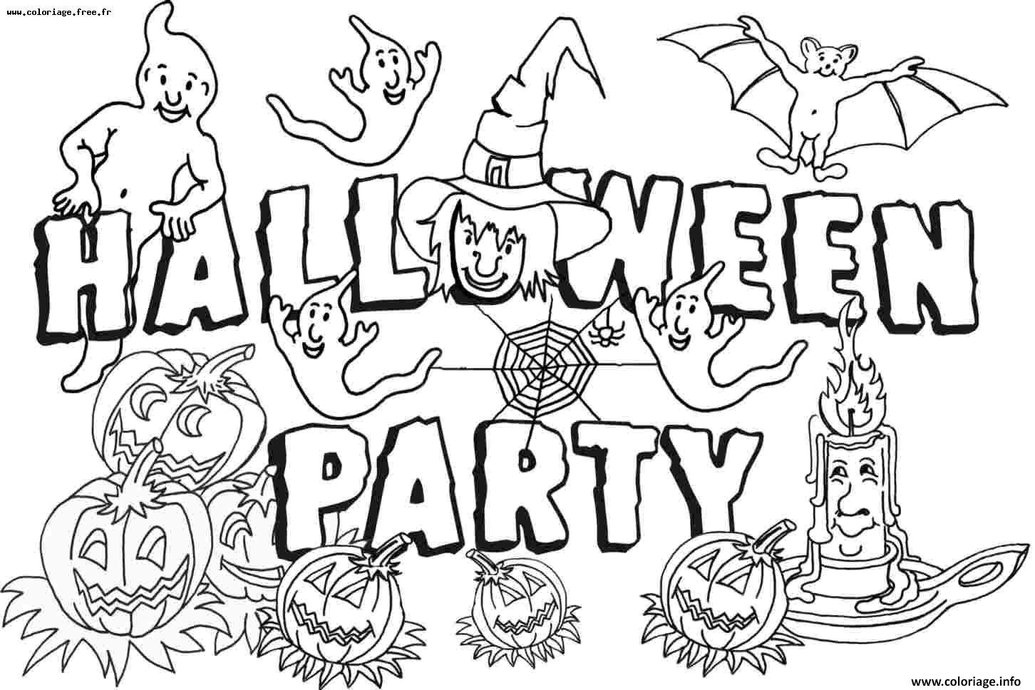Coloriage halloween party - Dessin fantome halloween ...