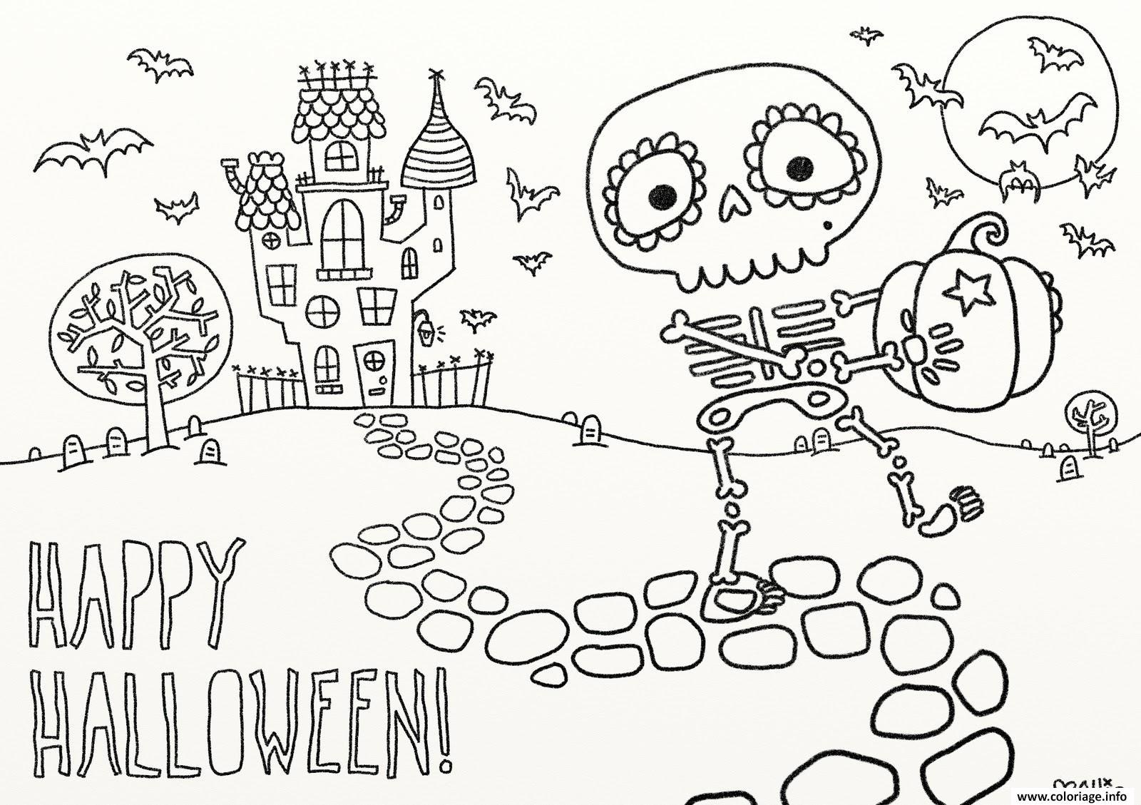 Dessin joyeux halloween Coloriage Gratuit à Imprimer