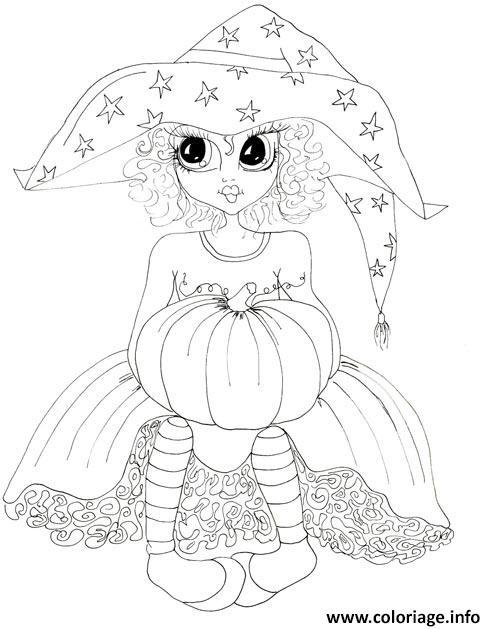 Dessin princesse halloween sorciere Coloriage Gratuit à Imprimer