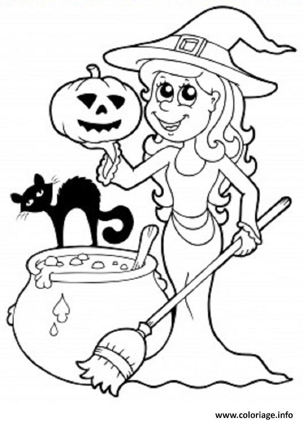 Coloriage Sorciere Halloween Chat Citrouille Dessin ...