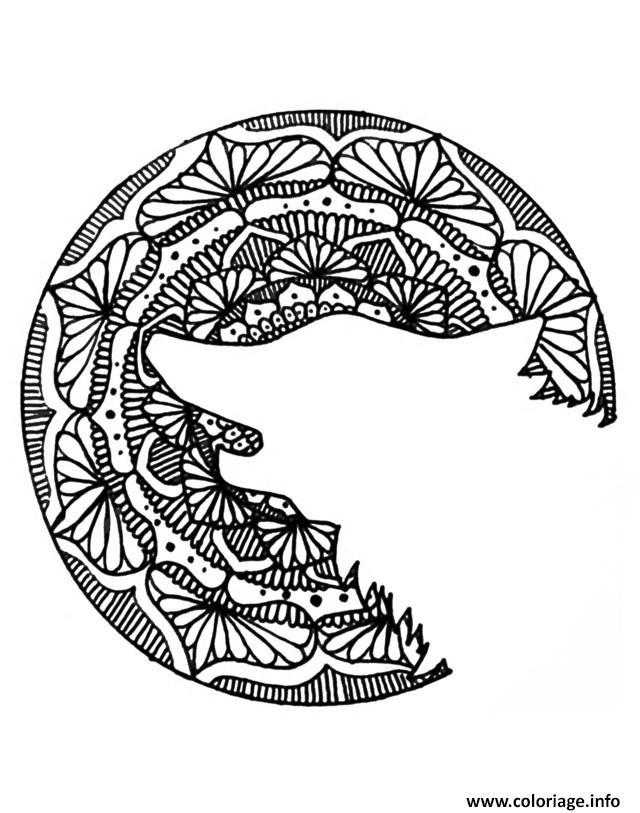 coloriage adulte halloween mandala loup head dessin imprimer