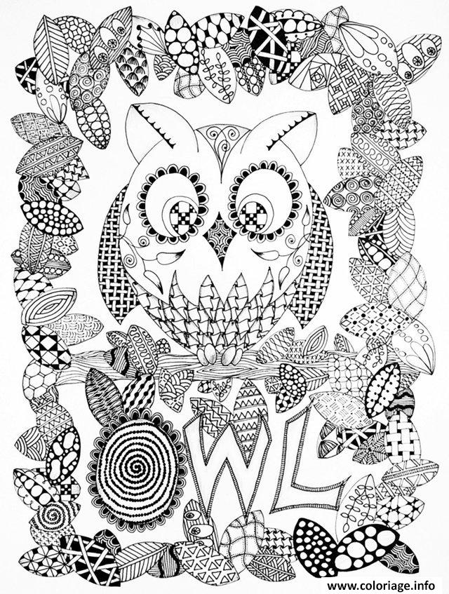 Dessin adulte halloween zentangle hibou Coloriage Gratuit à Imprimer
