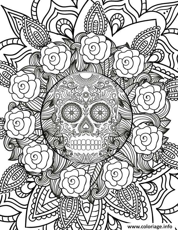 Coloriage adulte halloween hard squelette flowers dessin - Coloriage squelette halloween ...