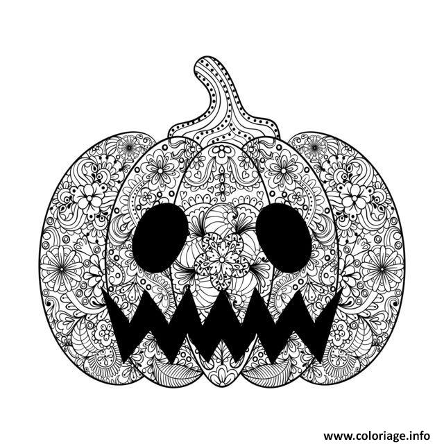 coloriage adulte halloween scary citrouille