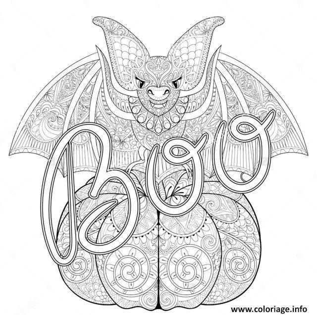Dessin adulte halloween zentangle chauvesouris citrouille Coloriage Gratuit à Imprimer