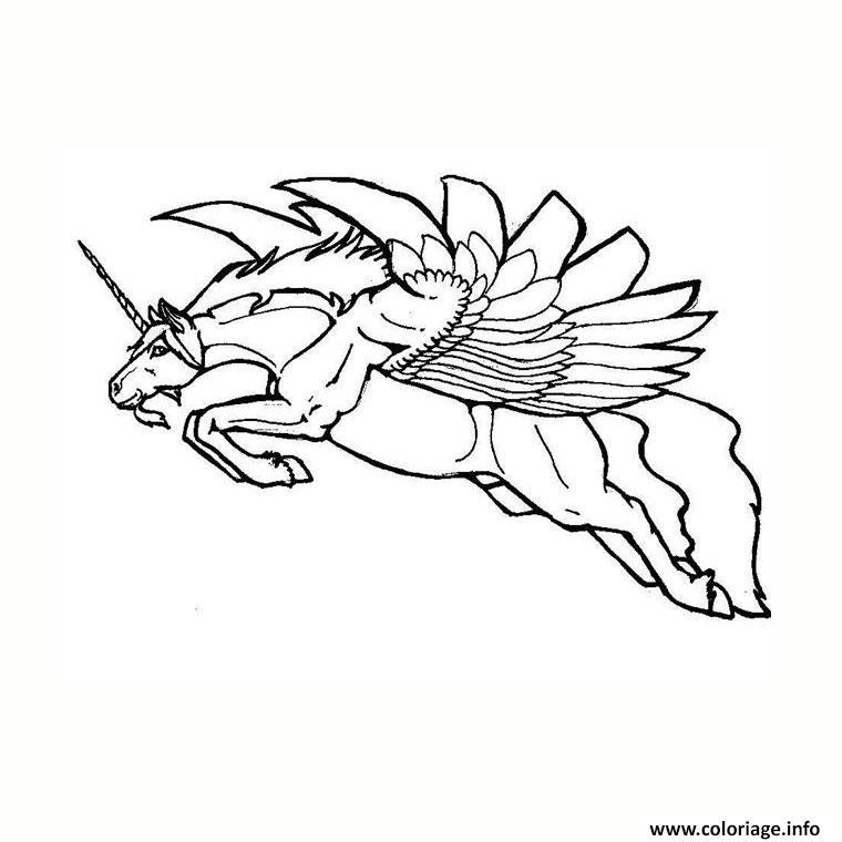 Coloriage licorne ailee dessin - Licorne a imprimer gratuit ...