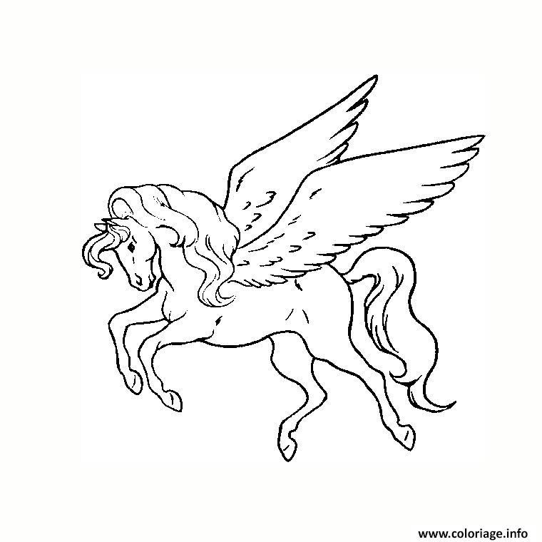Coloriage licorne avec des ailes dessin - Aile de dragon dessin ...
