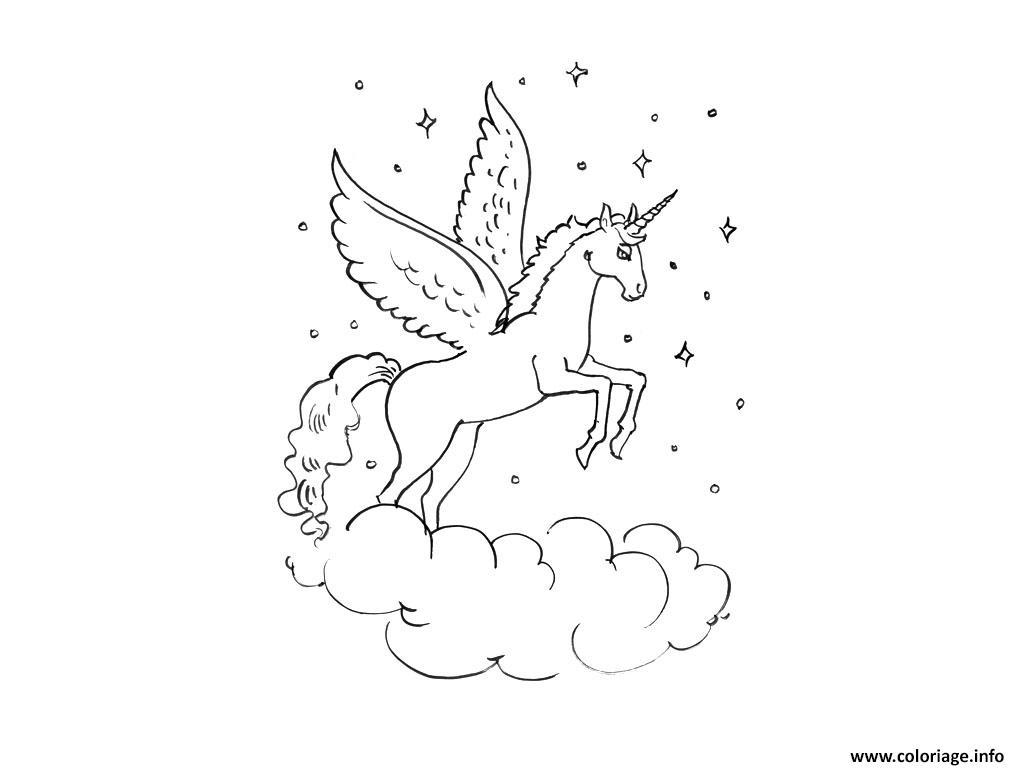 Coloriage licorne ailes tete mignon 100 dessin - Dessin de pegase a imprimer ...