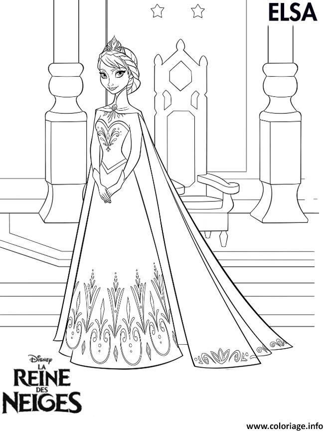 Coloriage Princesse A Imprimer Reine Des Neiges.Coloriage Princesse Elsa Reine Des Neiges Jecolorie Com
