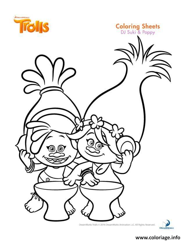 Coloriage dj suki poppy trolls dessin - Dessin de troll ...