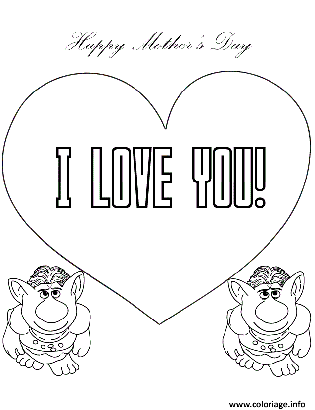 Coloriage Trolls From Frozen Movie Say I Love You Jecolorie Com