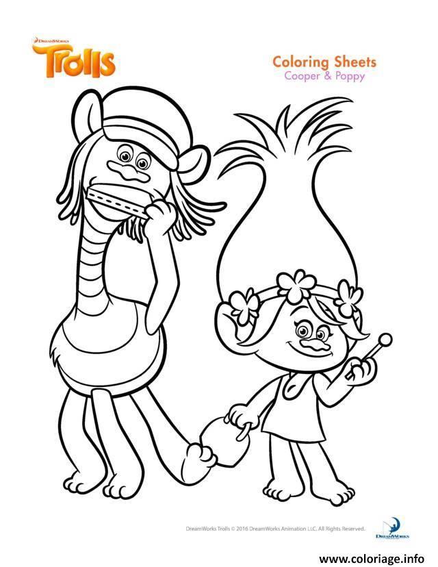 Coloriage Gratuit Trolls.Coloriage Cooper And Poppy Trolls Jecolorie Com
