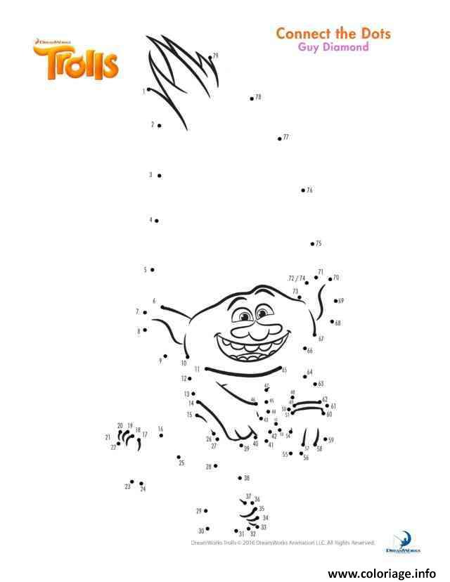 Coloriage Guy Diamond Connect The Dots Trolls dessin