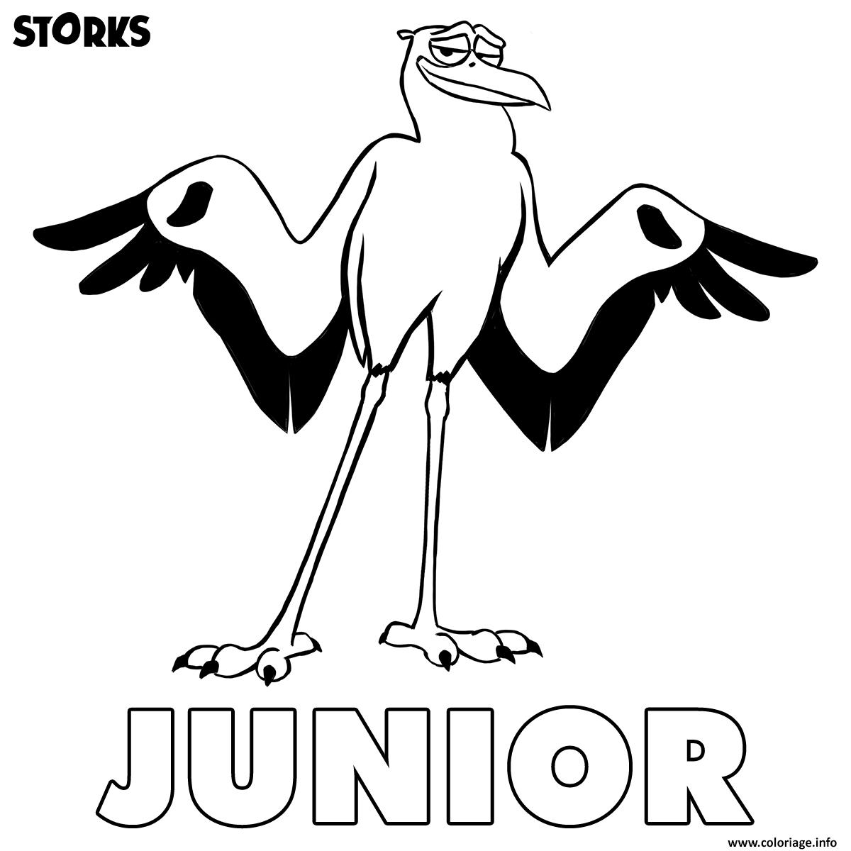 Coloriage cigognes et compagnie junior dessin - Cigogne dessin ...
