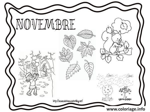 Coloriage Novembre Paysage Automne Dessin