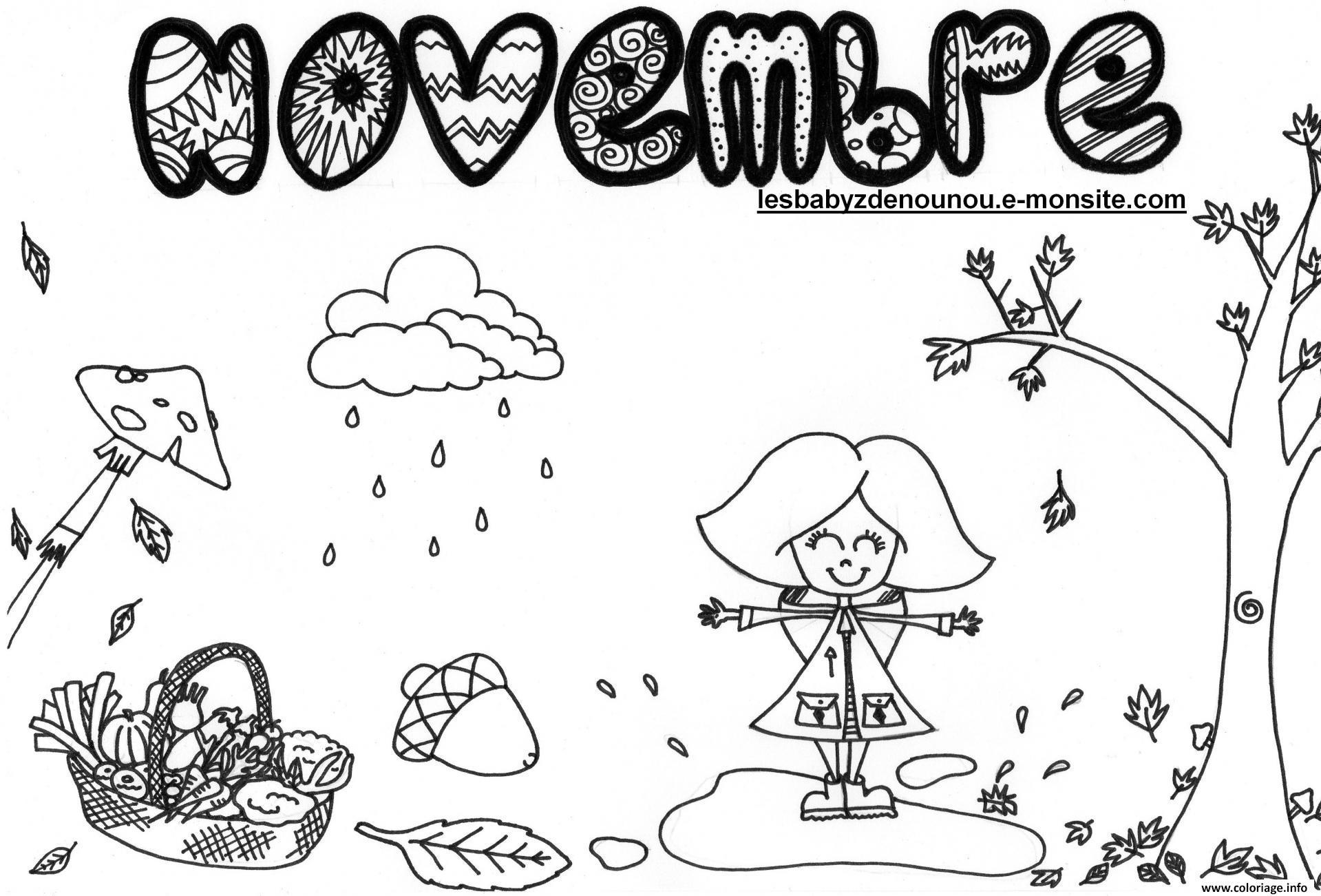 Coloriage paysage automne arbre novembre dessin - Paysage a imprimer ...