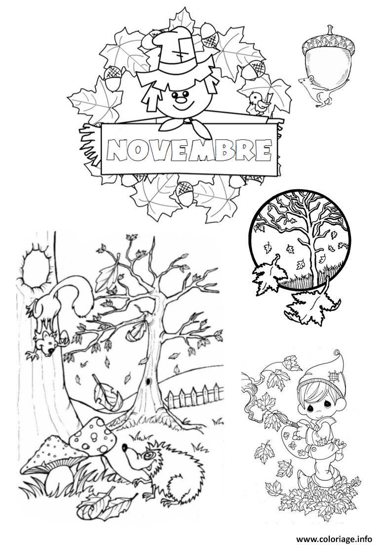 Coloriage novembre paysage arbre feuille automne dessin - Coloriage paysage automne ...