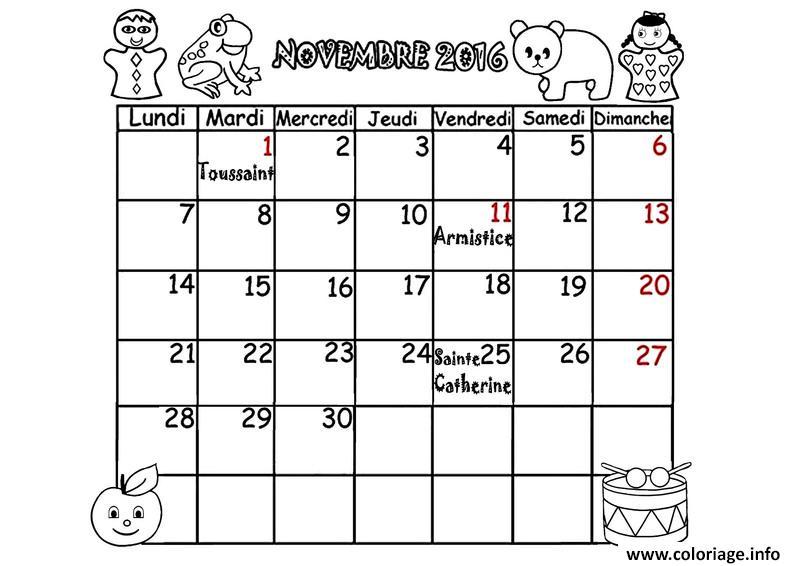 Coloriage Calendrier Novembre 2016 dessin