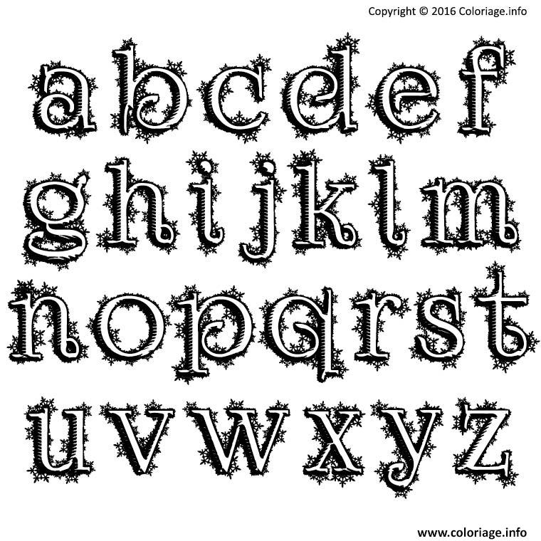 Coloriage alphabet noel neige lettre christmas dessin - Alphabet noel ...