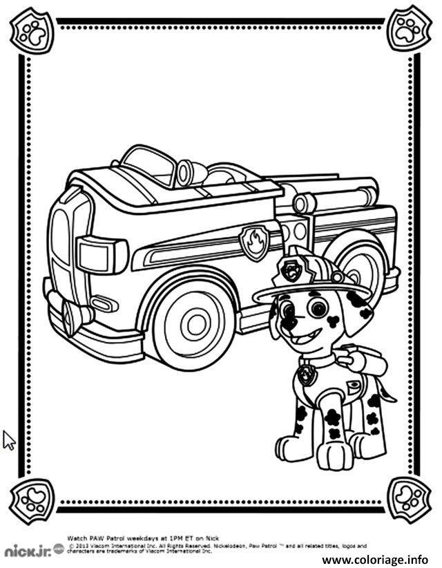 Coloriage chien pompier devant son camion pat patrouille dessin - Dessin pompier a imprimer ...