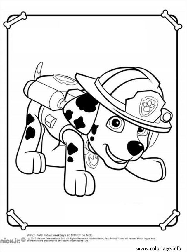 Coloriage pat patrouille dalmatien marcus marshall en mode pompier - Dessin anime pompier gratuit ...
