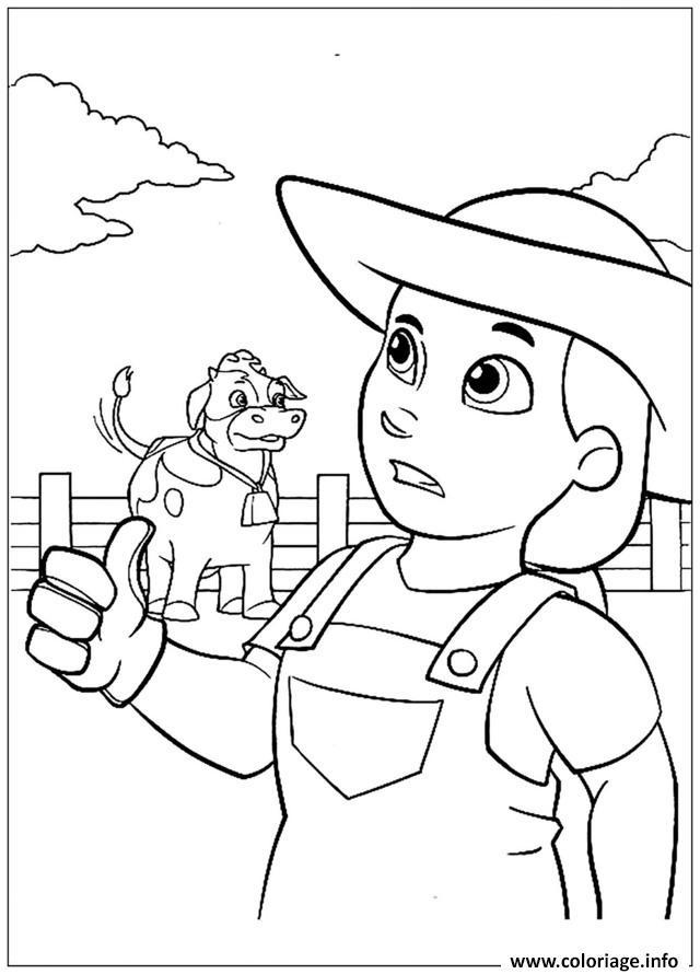 Coloriage pat patrouille fermiere et vache dessin - Coloriage de fermier ...