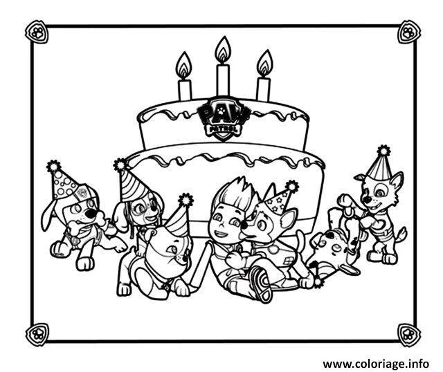 coloriage anniversaire avec la pat patrouille dessin imprimer - Coloriage Anniversaire