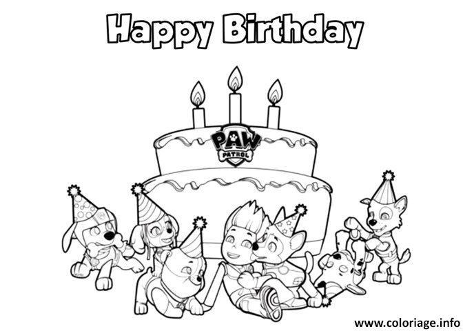 pat patrouille happy birthday coloriage dessin