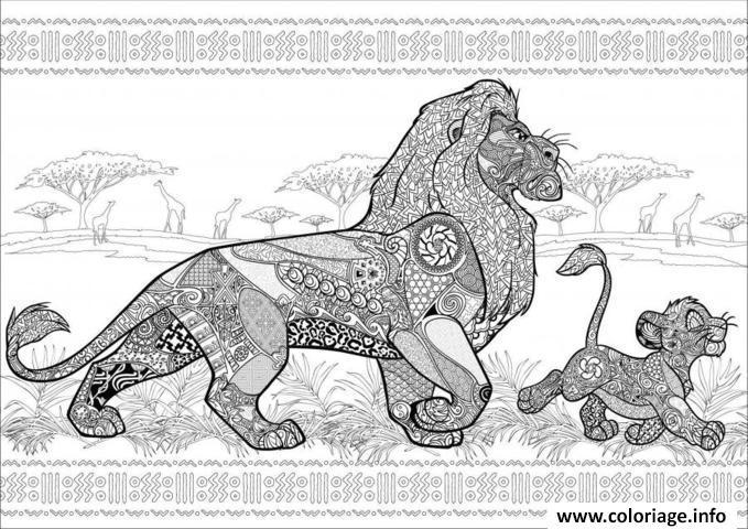Coloriage disney anti stress roi lion dessin - Coloriage anti stress disney ...