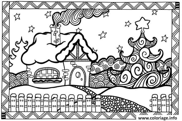 Coloriage Maison Adulte A Imprimer.Coloriage Adulte Noel Maison Dessin