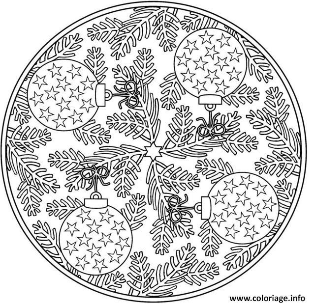 Coloriage Adulte Gratuit Mandala.Coloriage Adulte Noel Mandala Dessin