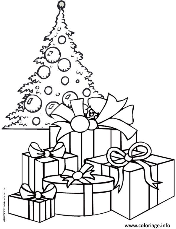 Dessin sapin de noel avec cadeaux
