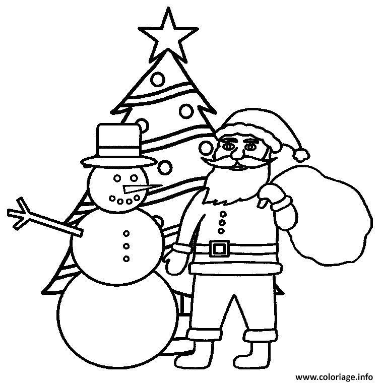 sapin de noel avec pere noel bonhomme de neige coloriage dessin