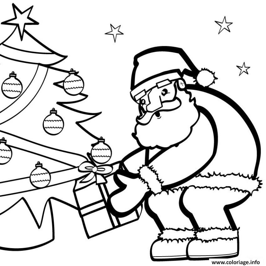 Coloriage Pere Noel Depose Un Cadeau Dessin