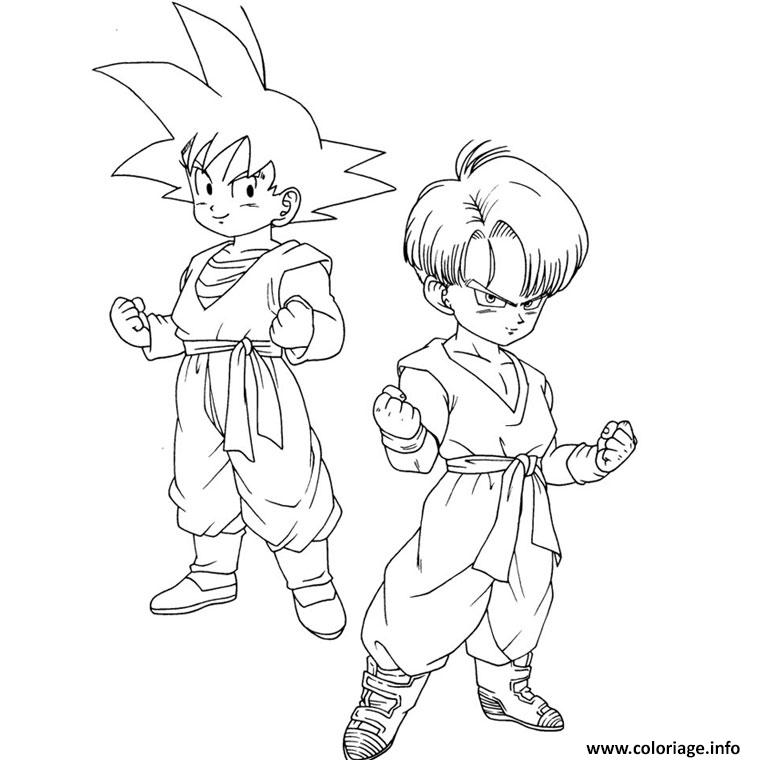 Coloriage son goten trunks dragon ball z 6 dessin - Dessin dragon ball z facile ...