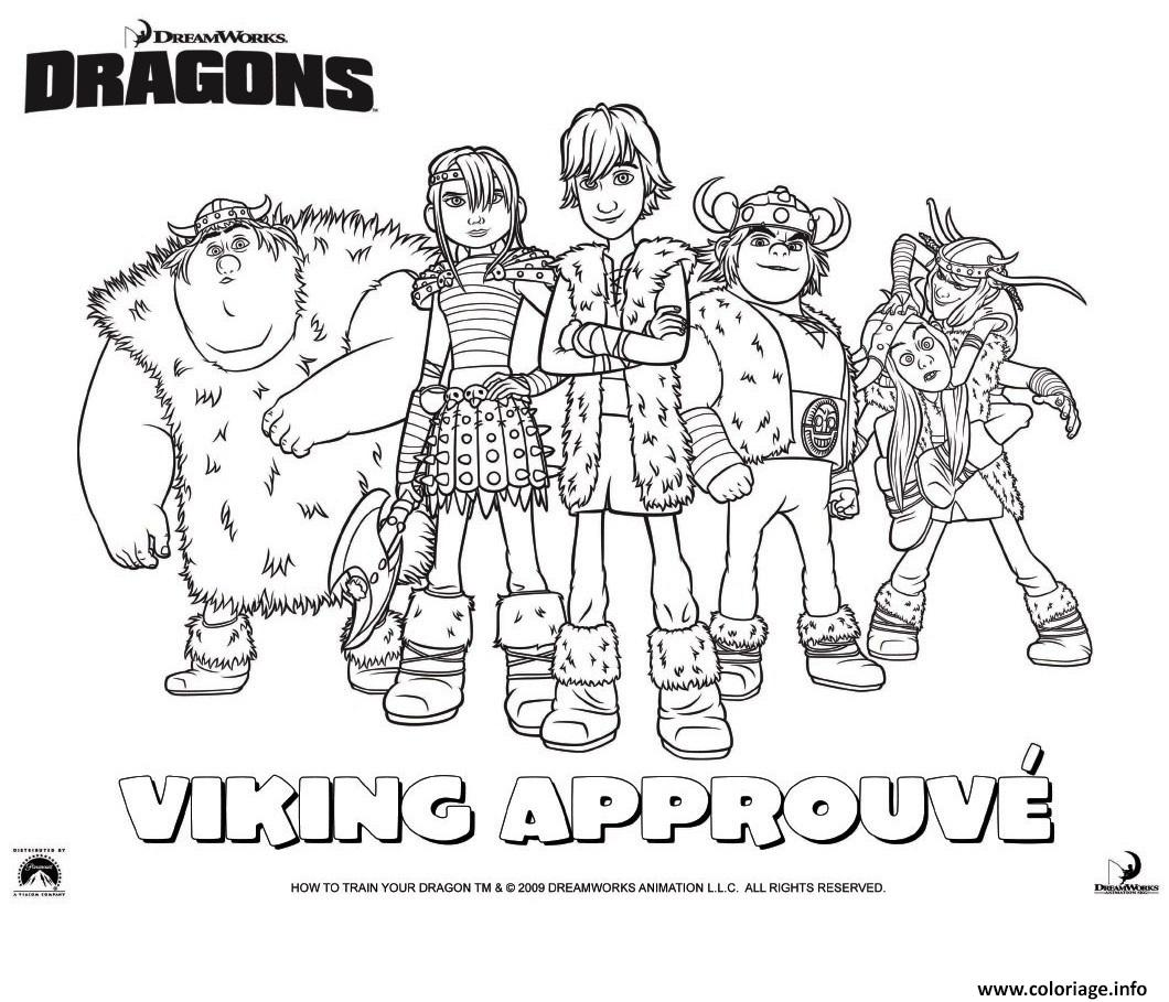 Coloriage Dragons Le Film Viking Groupe Dessin