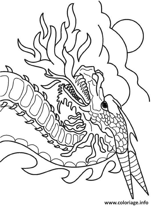 dragon crache feu dessin coloriage