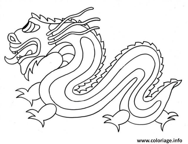 Coloriage dragon chinois simple facile - Modele dessin dragon ...