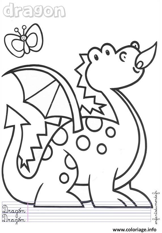Coloriage dragon maternelle enfant dessin - Coloriages de dragons ...