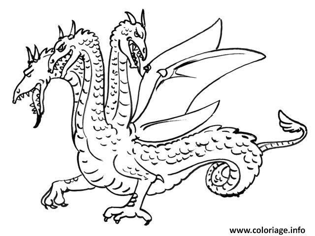 Coloriage dragon avec trois tetes - Imprimer dragon ...