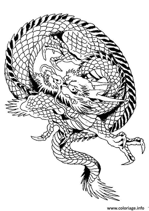 Coloriage dragon chinois 5 dessin - Dessin facile de dragon ...