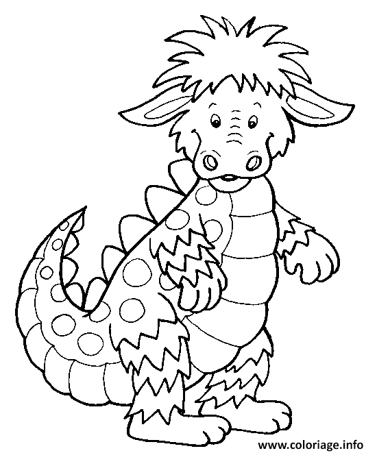 Coloriage Dragon Enfants Facile Dessin